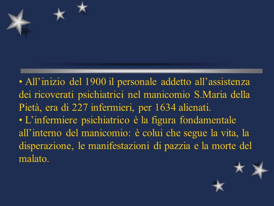 All'inizio del 1900 il personale addetto all'assistenza dei ricoverati psichiatrici nel manicomio S.Maria della Pietà, era di 227 infermieri, per 1634 alienati.