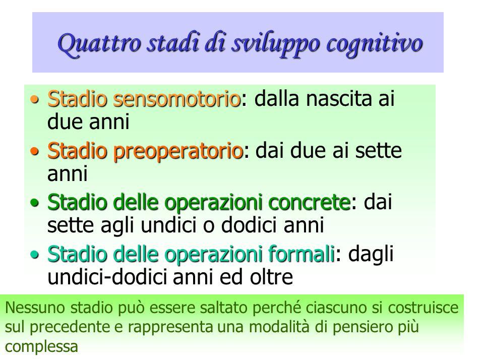 Quattro stadi di sviluppo cognitivo