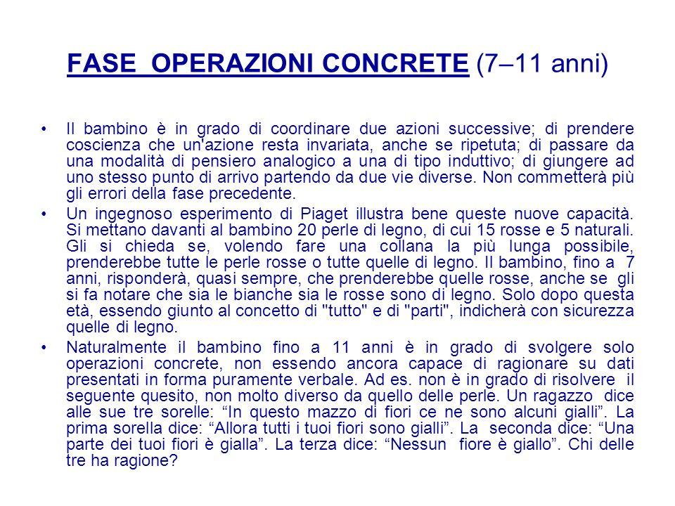 FASE OPERAZIONI CONCRETE (7–11 anni)