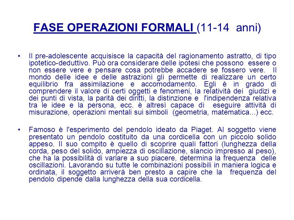 FASE OPERAZIONI FORMALI (11-14 anni)