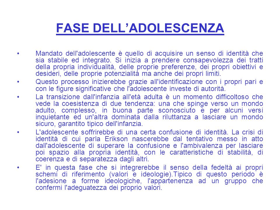 FASE DELL'ADOLESCENZA