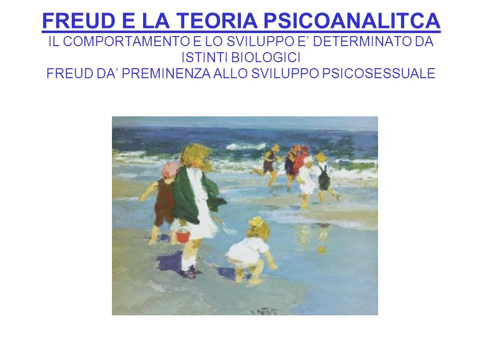 FREUD E LA TEORIA PSICOANALITCA IL COMPORTAMENTO E LO SVILUPPO E' DETERMINATO DA ISTINTI BIOLOGICI FREUD DA' PREMINENZA ALLO SVILUPPO PSICOSESSUALE