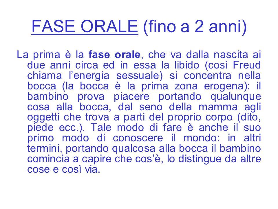 FASE ORALE (fino a 2 anni)