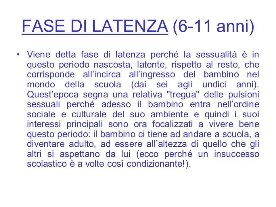 FASE DI LATENZA (6-11 anni)