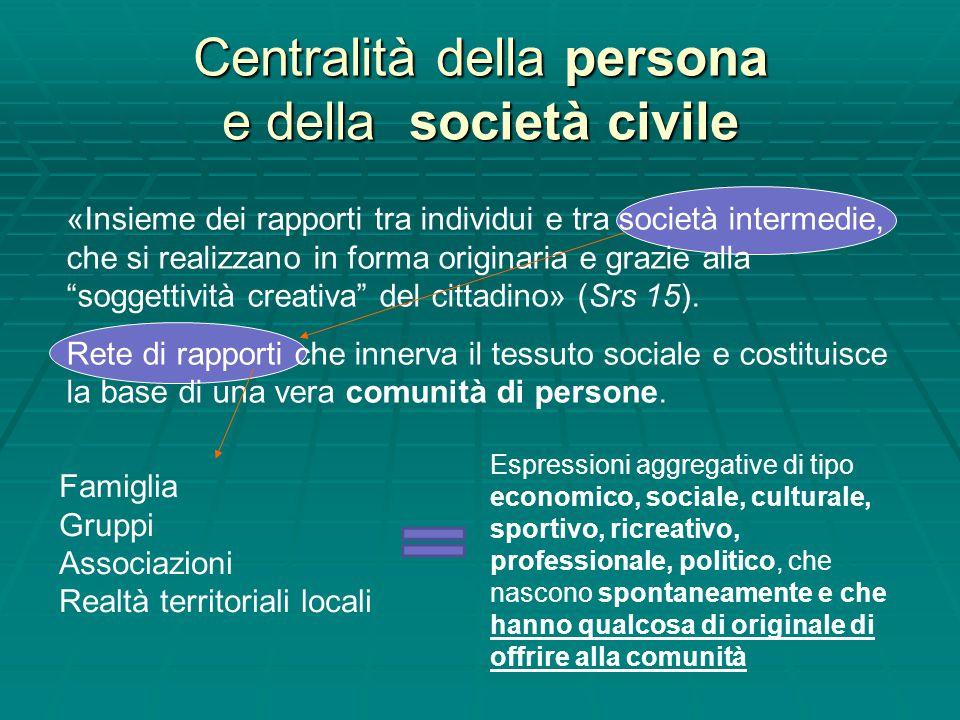 Centralità della persona e della società civile
