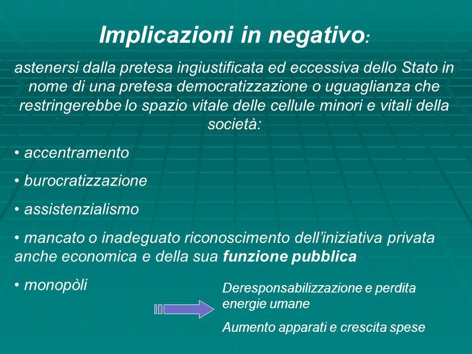 Implicazioni in negativo:
