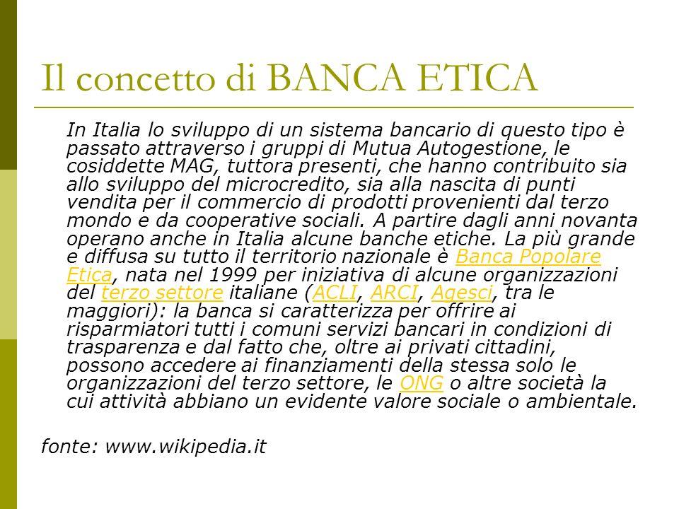 Il concetto di BANCA ETICA