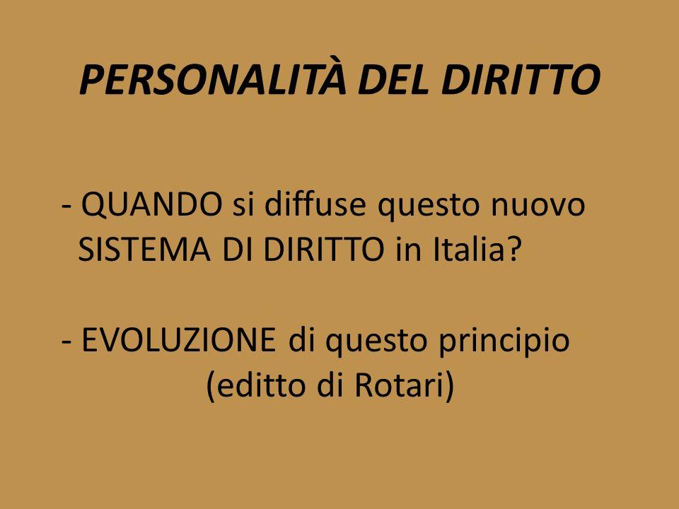 PERSONALITÀ DEL DIRITTO