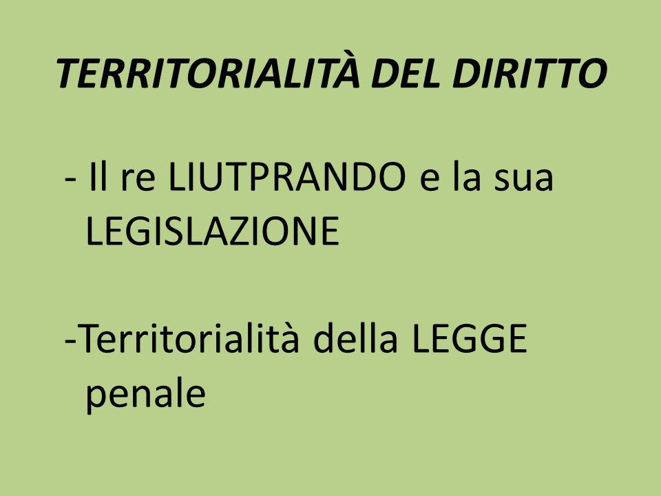 TERRITORIALITÀ DEL DIRITTO