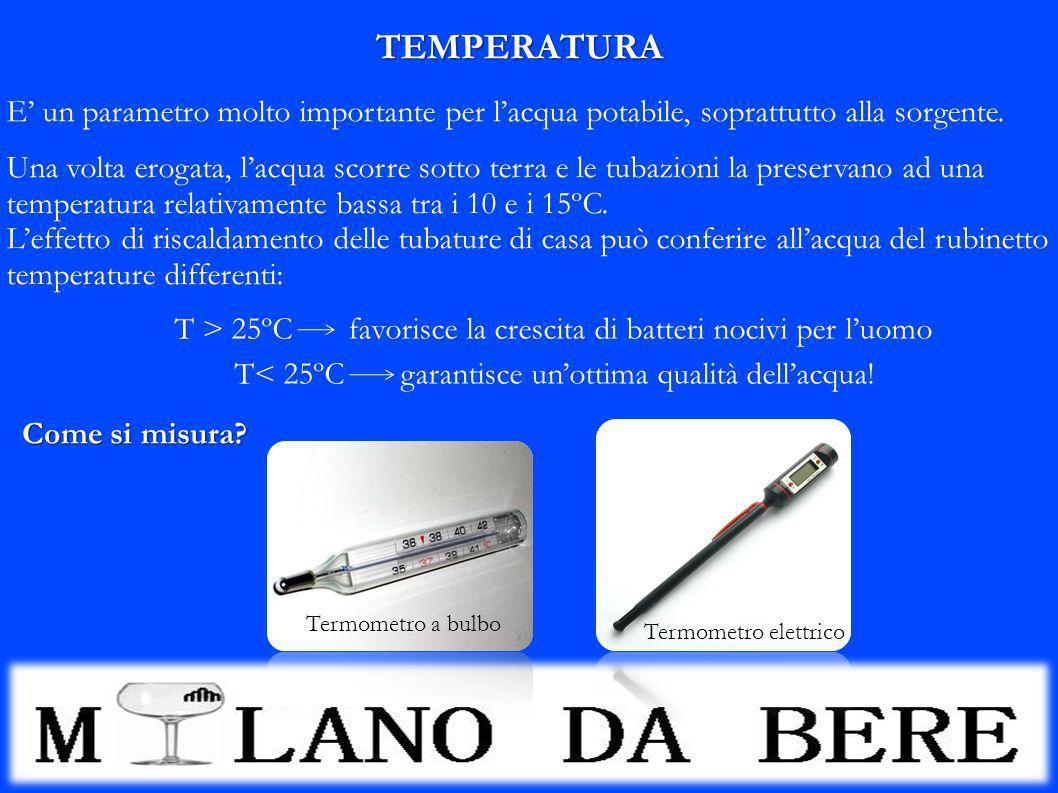 TEMPERATURA E' un parametro molto importante per l'acqua potabile, soprattutto alla sorgente.