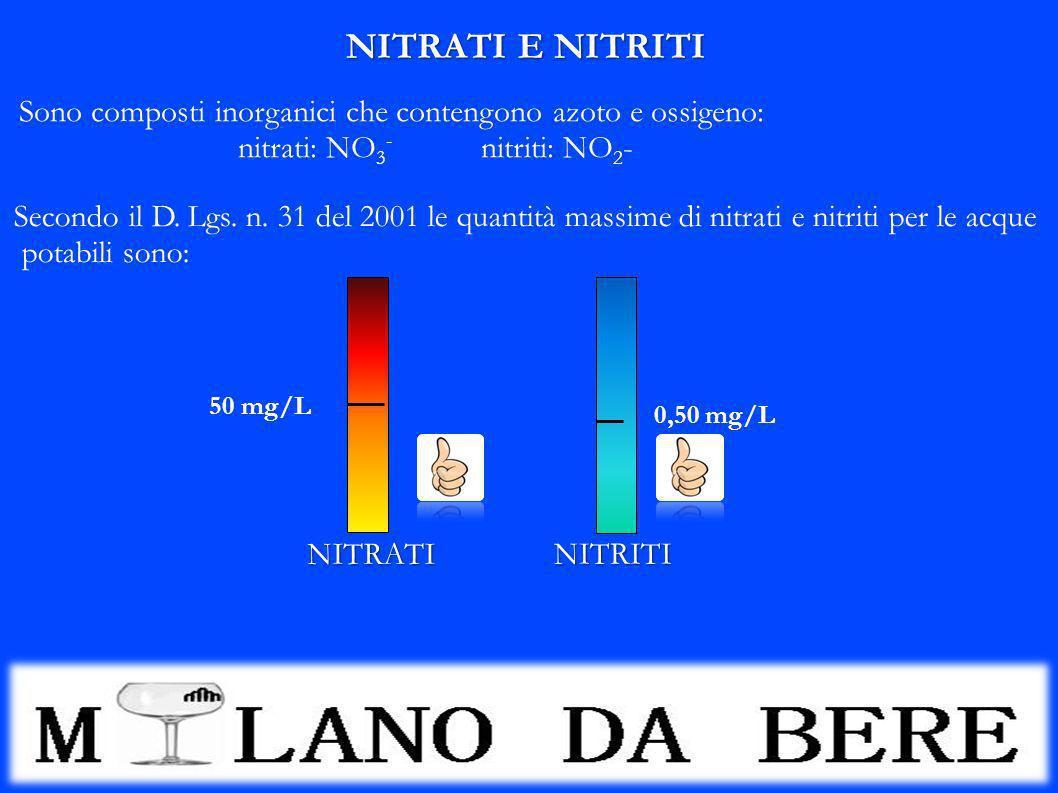 NITRATI E NITRITI Sono composti inorganici che contengono azoto e ossigeno: nitrati: NO3- nitriti: NO2-