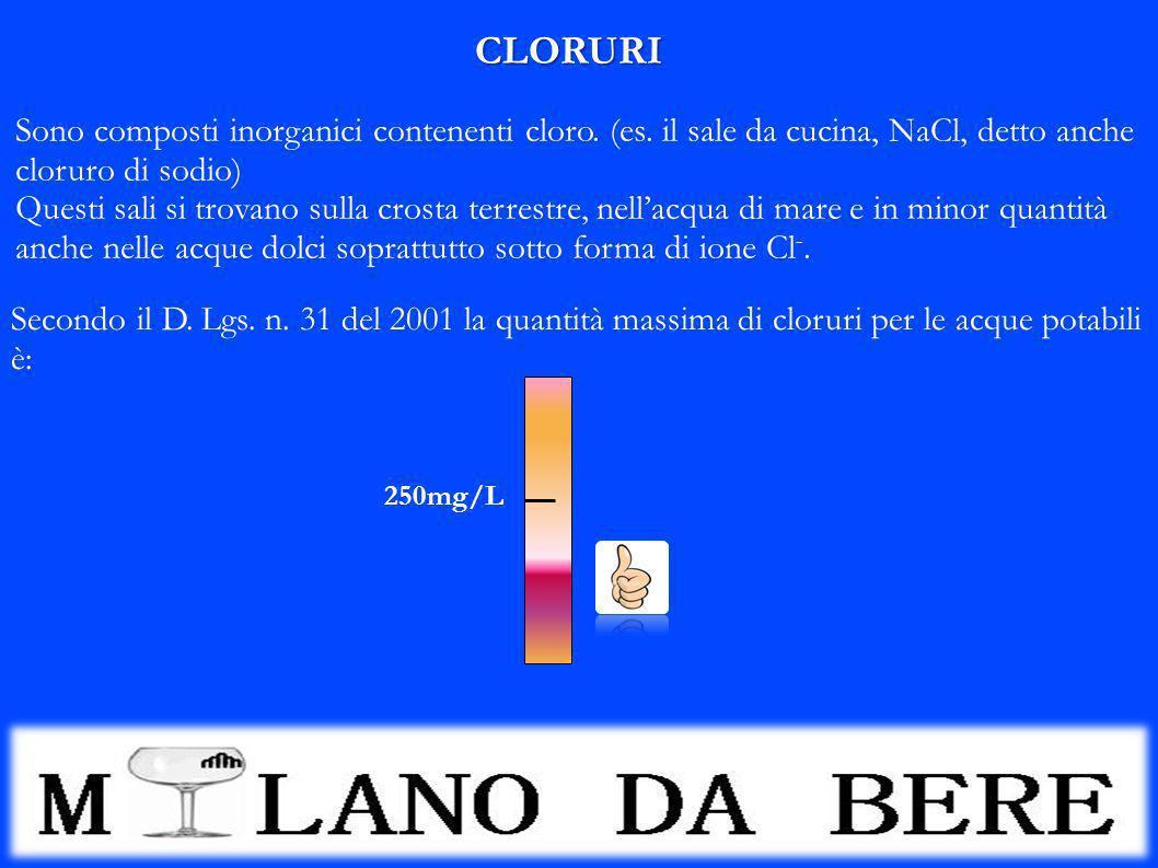 CLORURI Sono composti inorganici contenenti cloro. (es. il sale da cucina, NaCl, detto anche. cloruro di sodio)