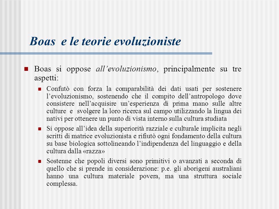 Boas e le teorie evoluzioniste