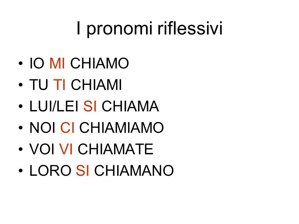 I pronomi riflessivi IO MI CHIAMO TU TI CHIAMI LUI/LEI SI CHIAMA