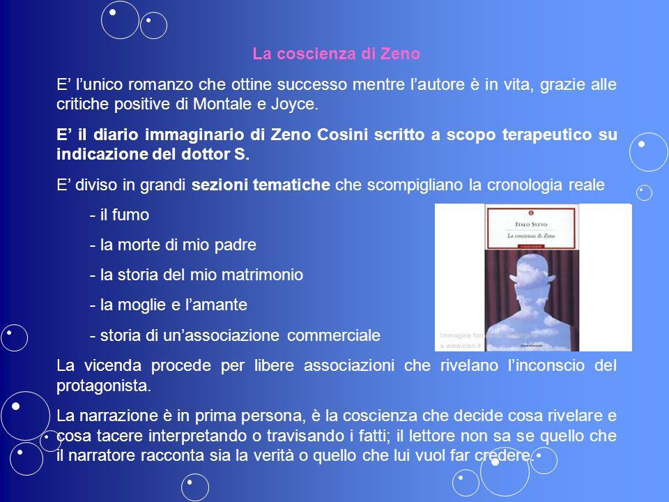La coscienza di Zeno E' l'unico romanzo che ottine successo mentre l'autore è in vita, grazie alle critiche positive di Montale e Joyce.