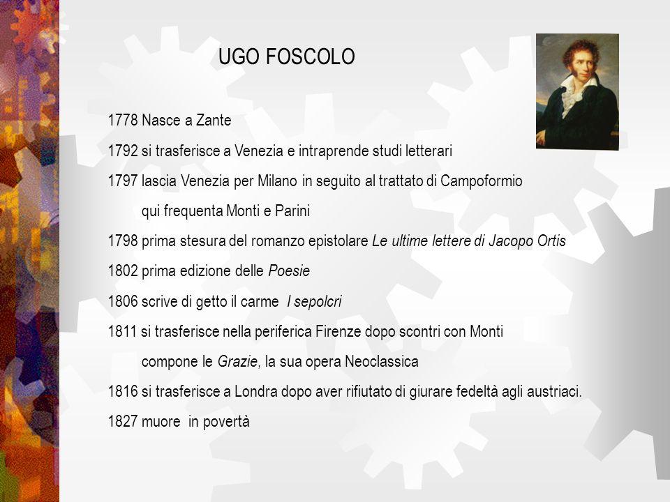 UGO FOSCOLO 1778 Nasce a Zante