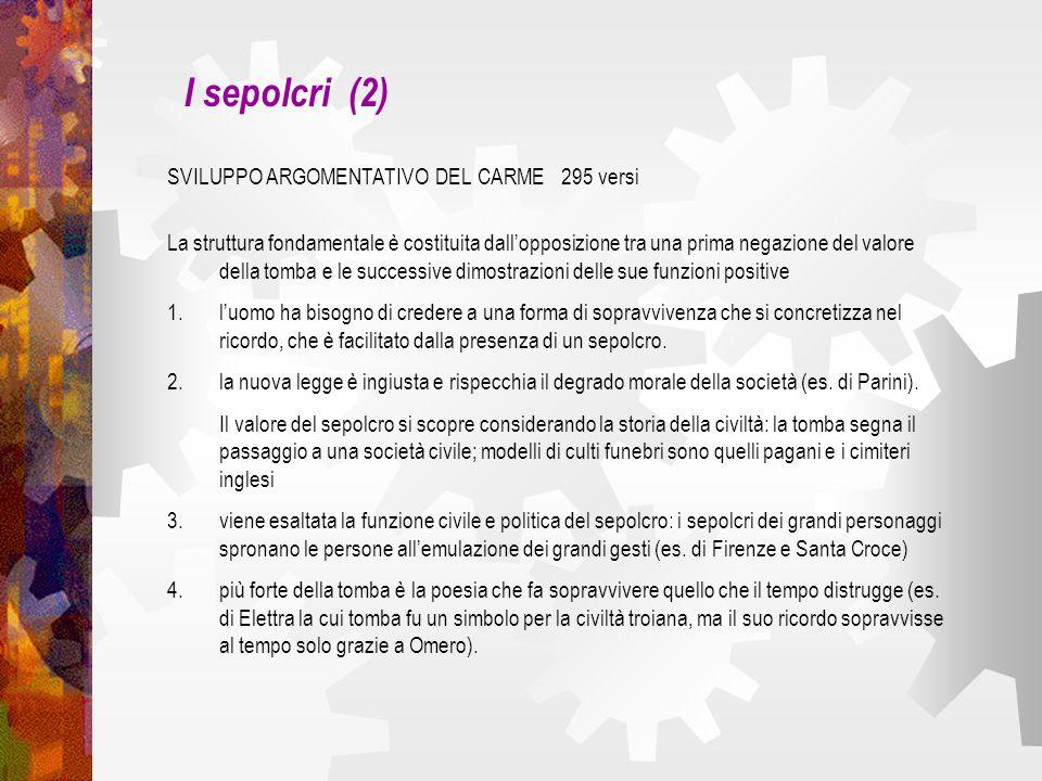 I sepolcri (2) SVILUPPO ARGOMENTATIVO DEL CARME 295 versi
