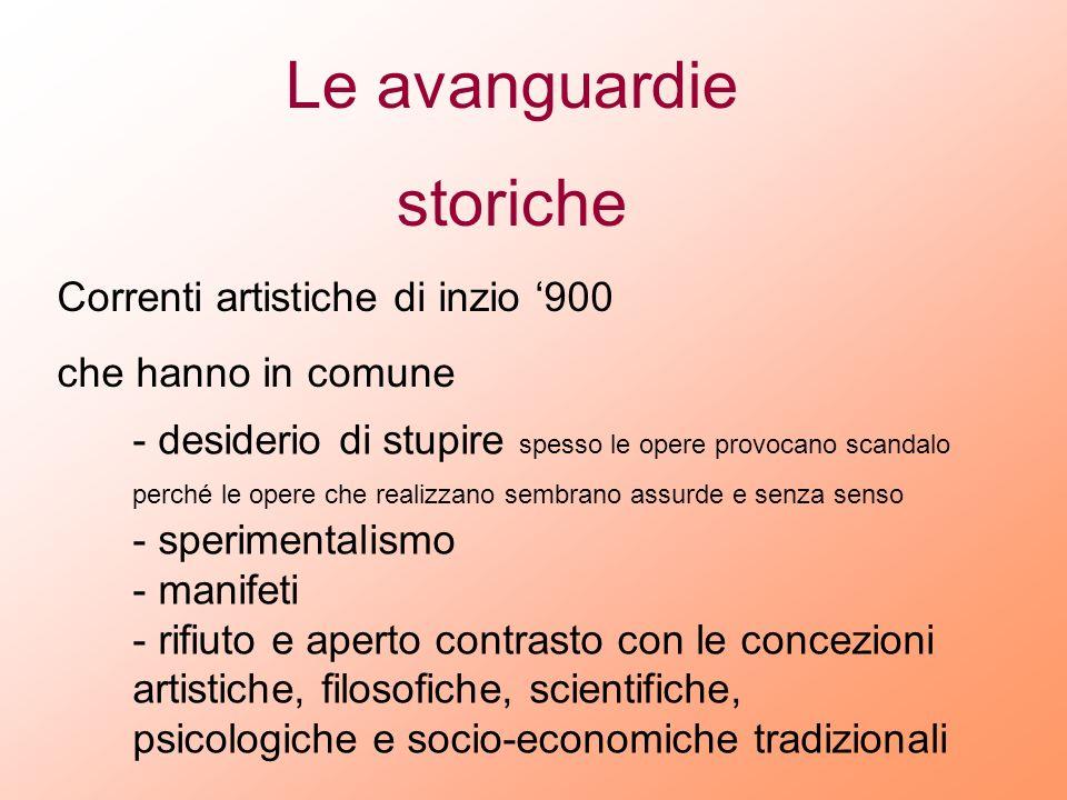 Le avanguardie storiche Correnti artistiche di inzio '900