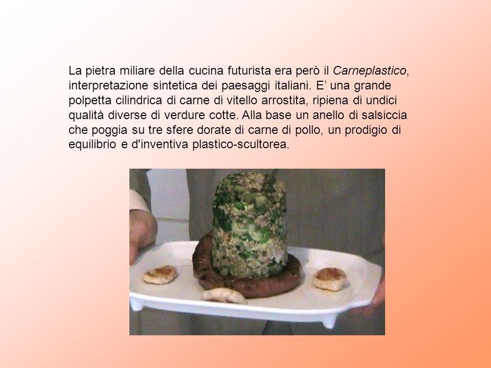 La pietra miliare della cucina futurista era però il Carneplastico, interpretazione sintetica dei paesaggi italiani.