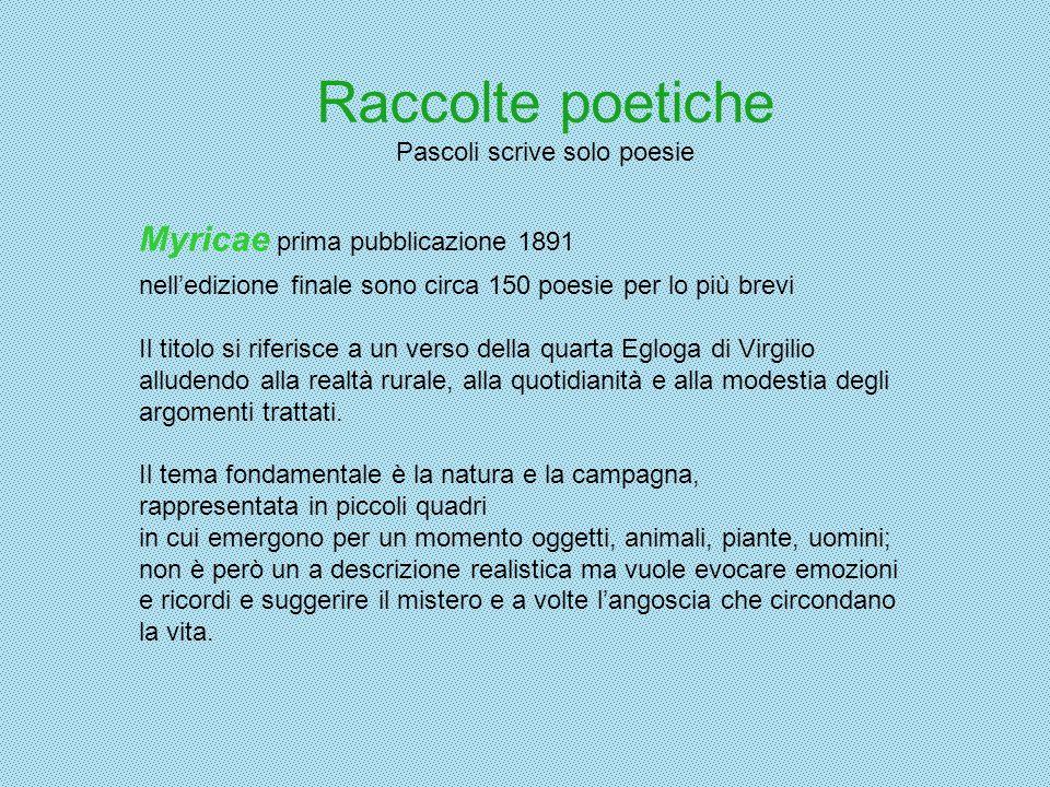 Raccolte poetiche Pascoli scrive solo poesie