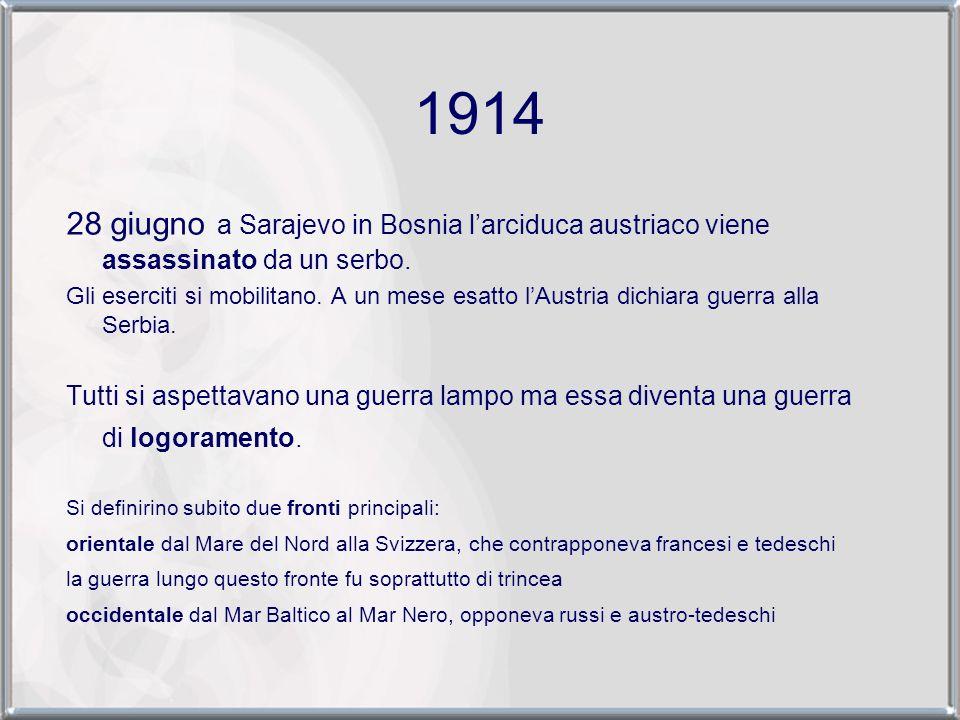 1914 28 giugno a Sarajevo in Bosnia l'arciduca austriaco viene assassinato da un serbo.