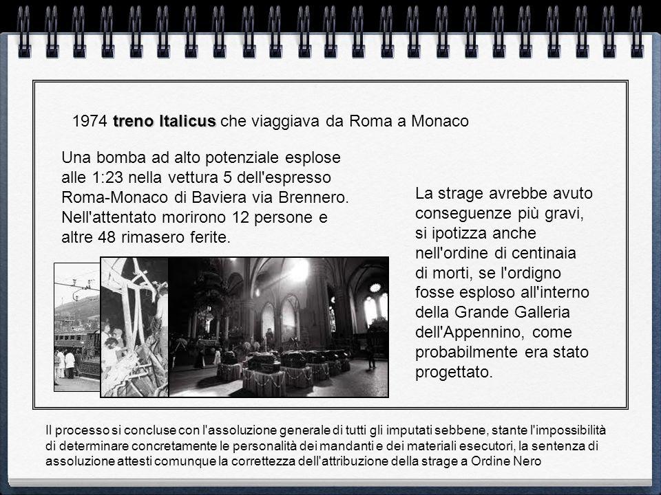 1974 treno Italicus che viaggiava da Roma a Monaco
