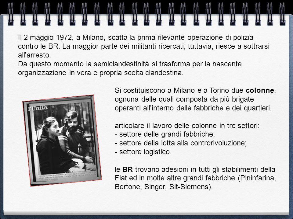 Il 2 maggio 1972, a Milano, scatta la prima rilevante operazione di polizia contro le BR. La maggior parte dei militanti ricercati, tuttavia, riesce a sottrarsi all arresto.