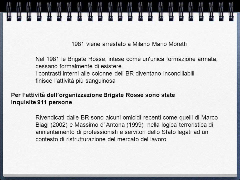 1981 viene arrestato a Milano Mario Moretti