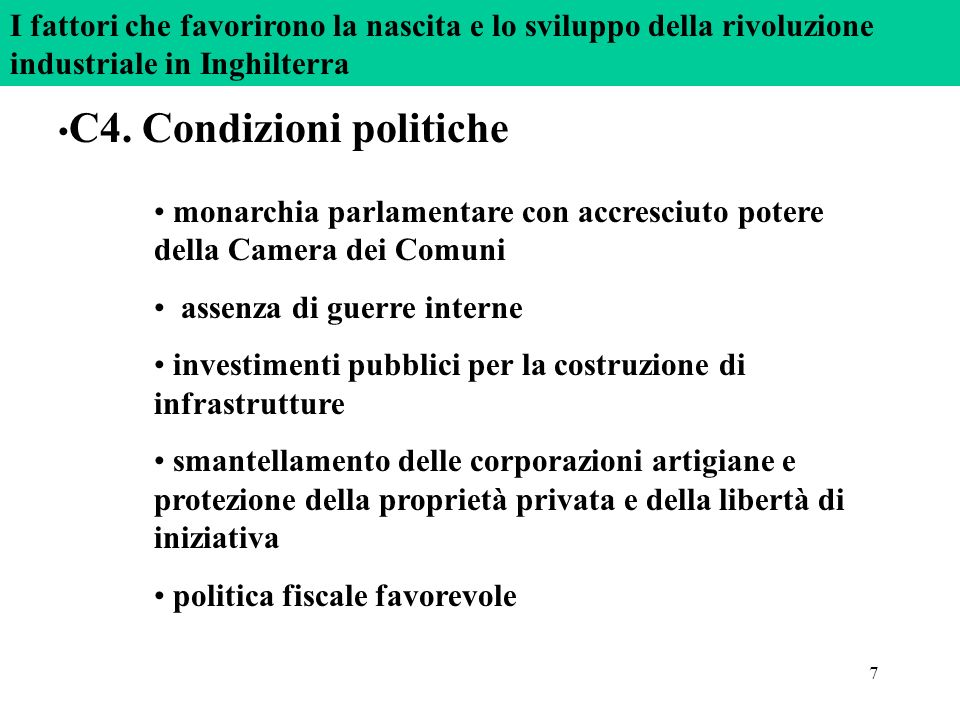 C4. Condizioni politiche