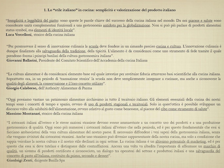 1. Lo stile italiano in cucina: semplicità e valorizzazione del prodotto italiano