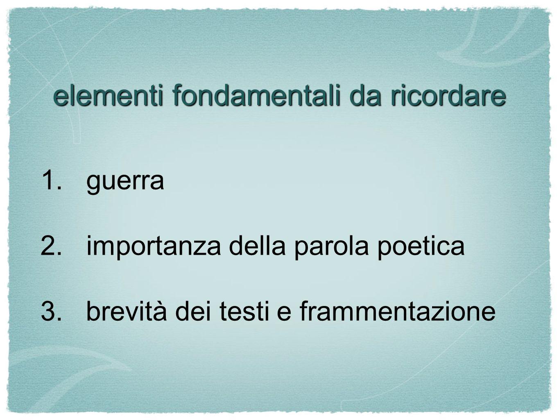 elementi fondamentali da ricordare
