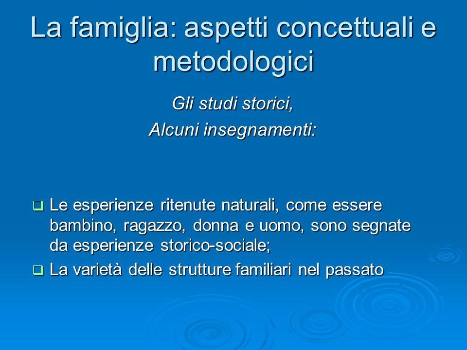 La famiglia: aspetti concettuali e metodologici