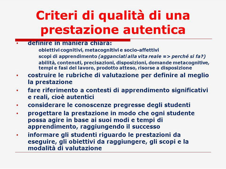 Criteri di qualità di una prestazione autentica
