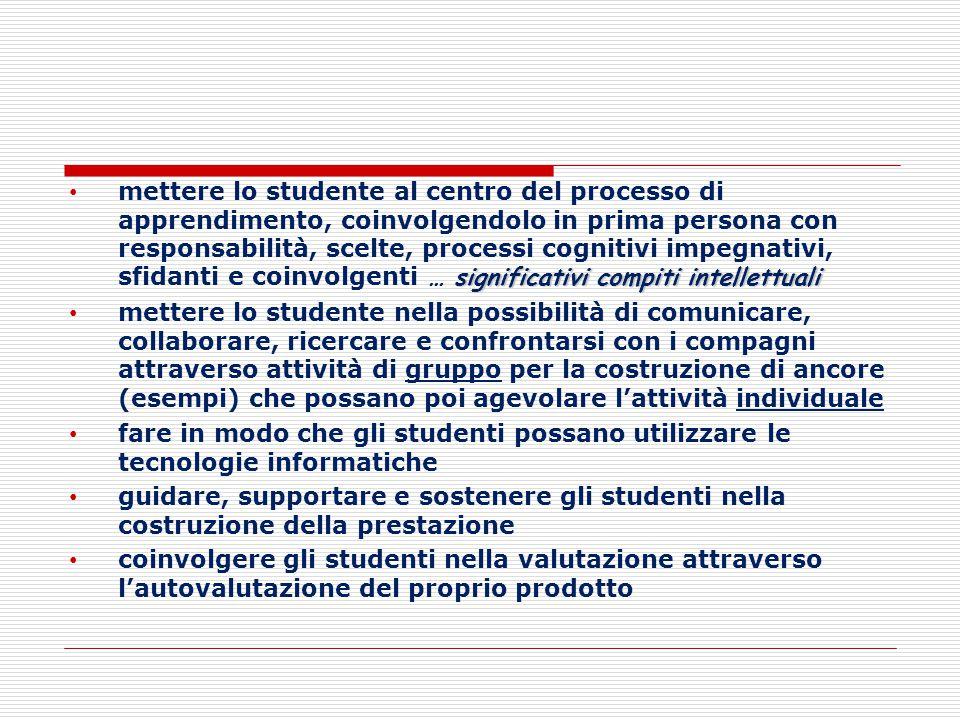 mettere lo studente al centro del processo di apprendimento, coinvolgendolo in prima persona con responsabilità, scelte, processi cognitivi impegnativi, sfidanti e coinvolgenti … significativi compiti intellettuali