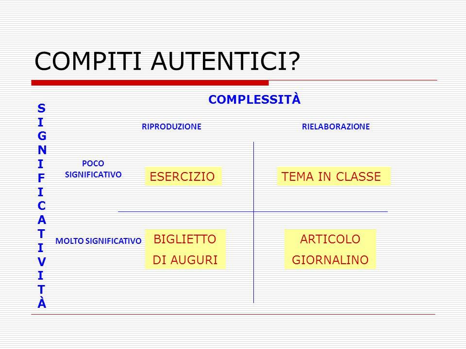 COMPITI AUTENTICI COMPLESSITÀ ESERCIZIO TEMA IN CLASSE