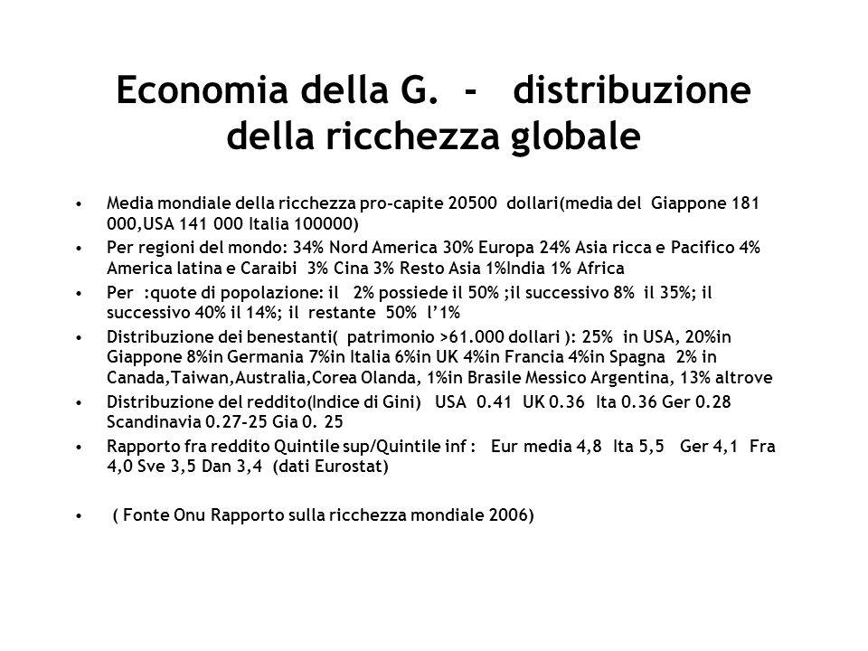 Economia della G. - distribuzione della ricchezza globale