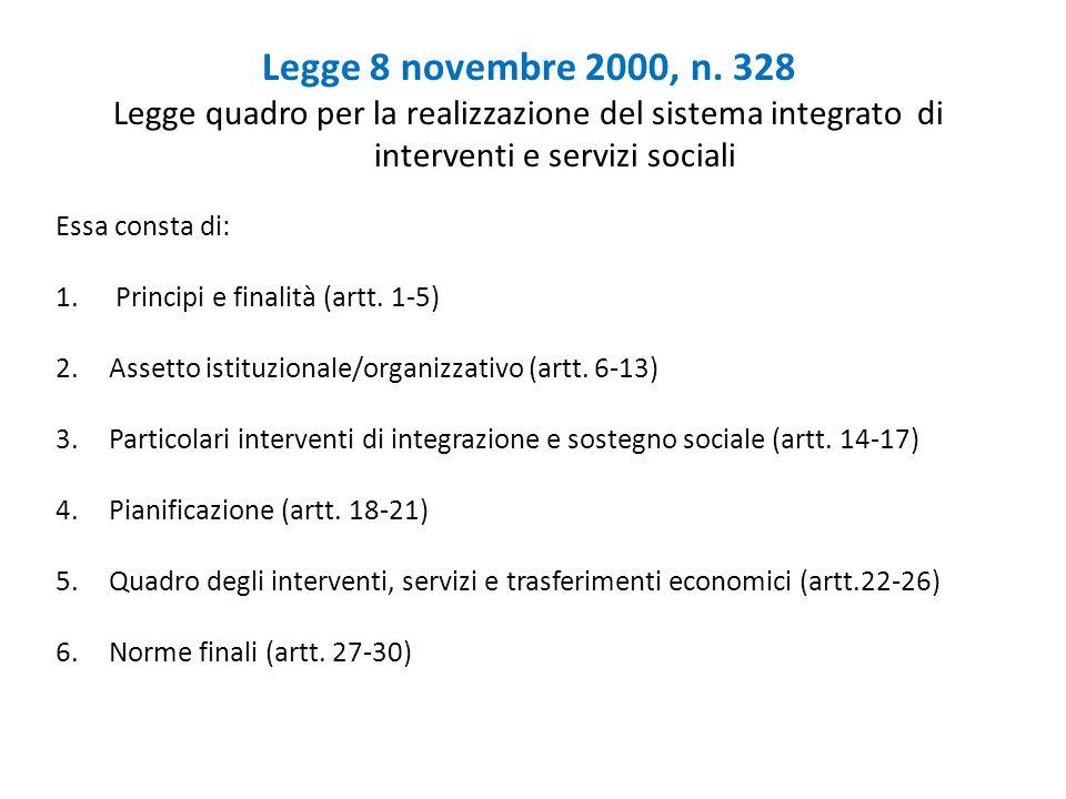 Legge 8 novembre 2000, n. 328Legge quadro per la realizzazione del sistema integrato di interventi e servizi sociali.
