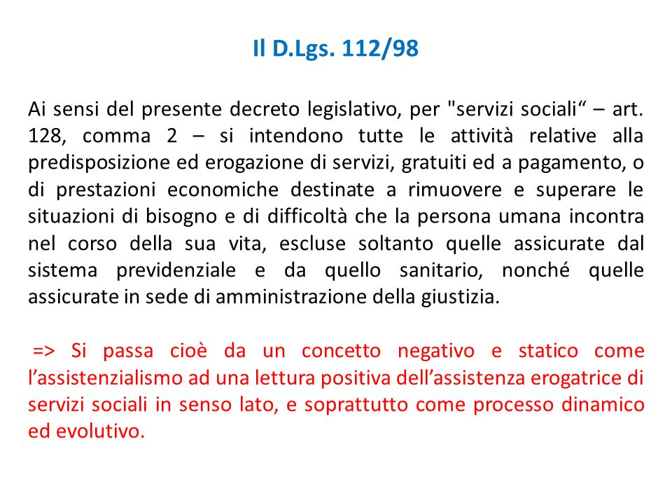 Il D.Lgs. 112/98