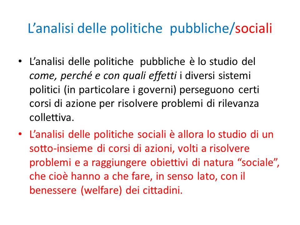 L'analisi delle politiche pubbliche/sociali