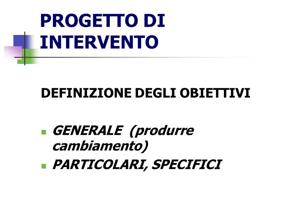 PROGETTO DI INTERVENTO
