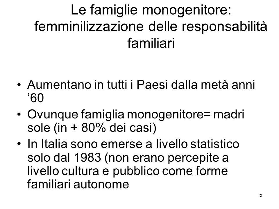 Le famiglie monogenitore: femminilizzazione delle responsabilità familiari
