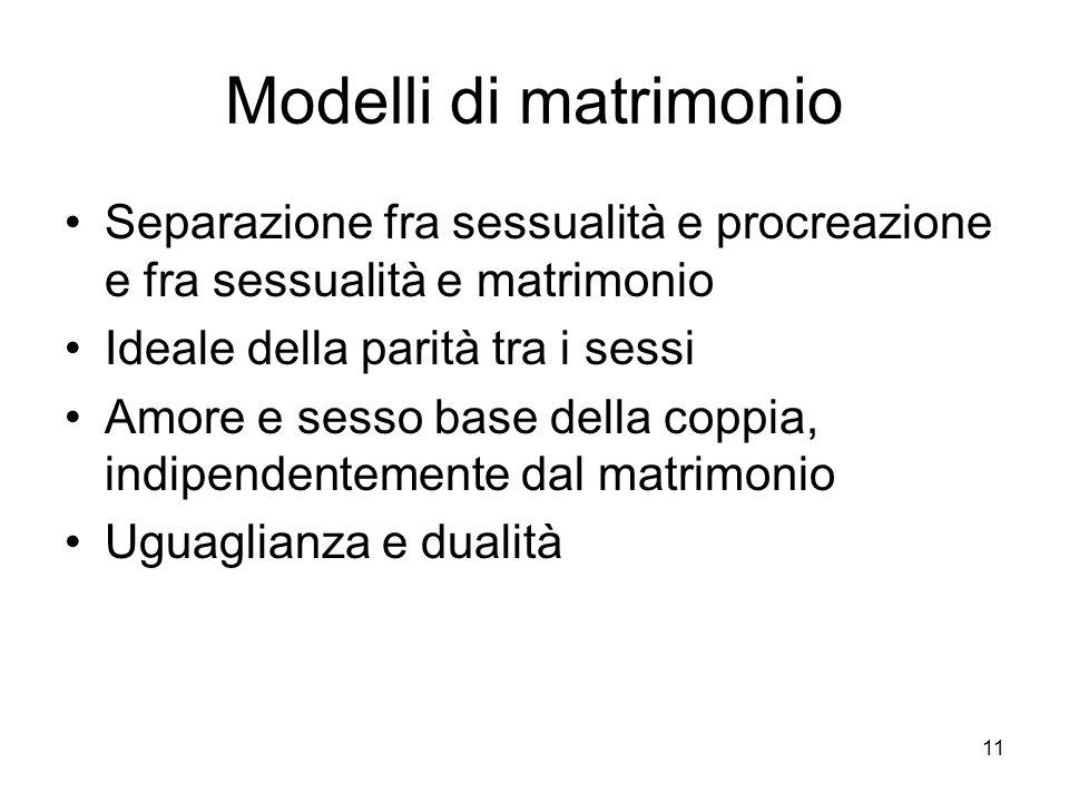 Modelli di matrimonio Separazione fra sessualità e procreazione e fra sessualità e matrimonio. Ideale della parità tra i sessi.