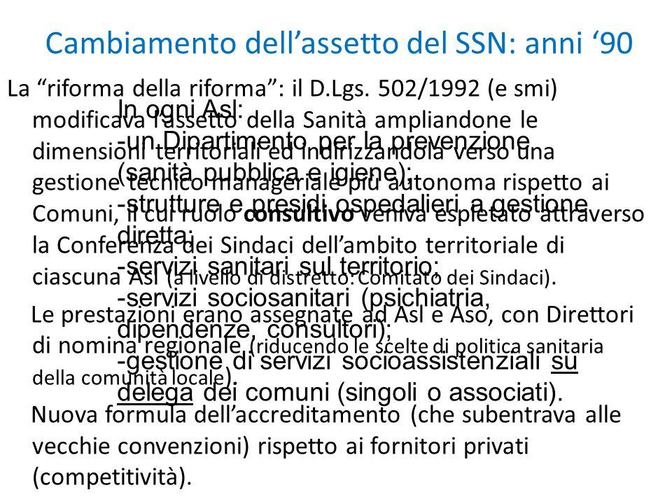 Cambiamento dell'assetto del SSN: anni '90