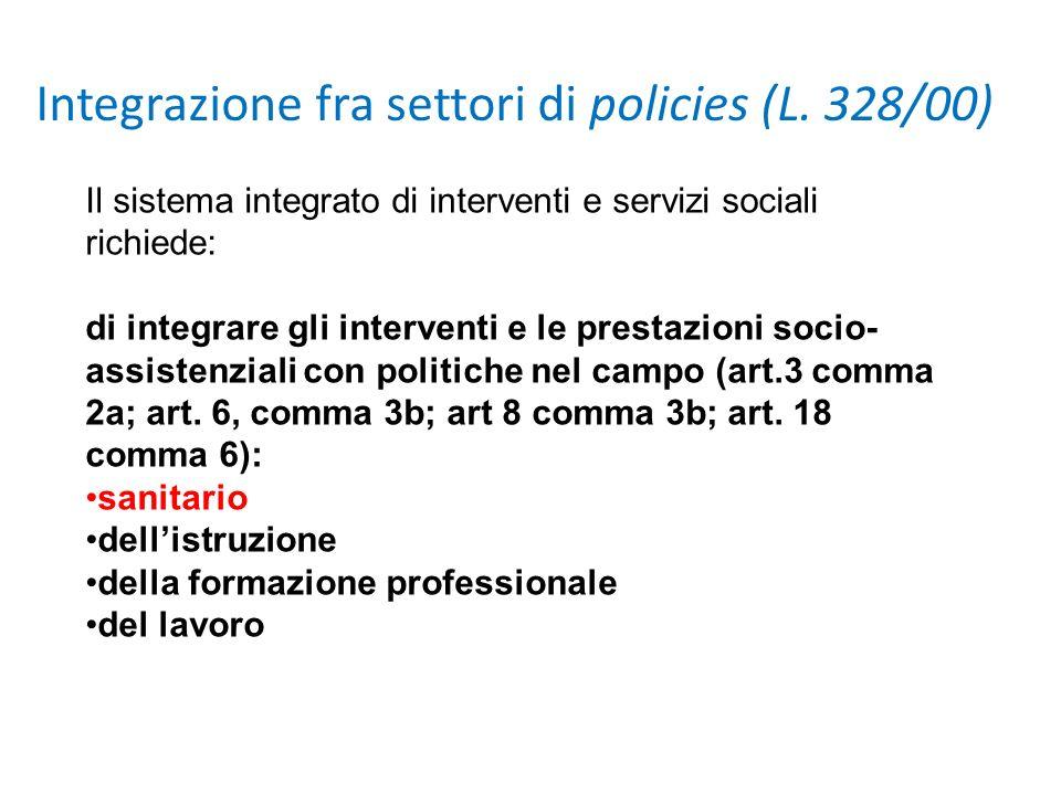 Integrazione fra settori di policies (L. 328/00)