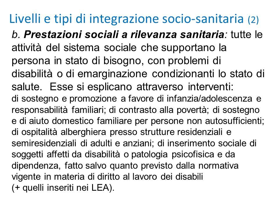 Livelli e tipi di integrazione socio-sanitaria (2)