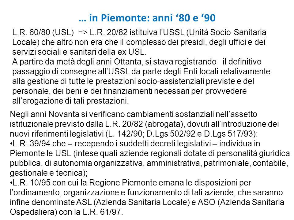 … in Piemonte: anni '80 e '90