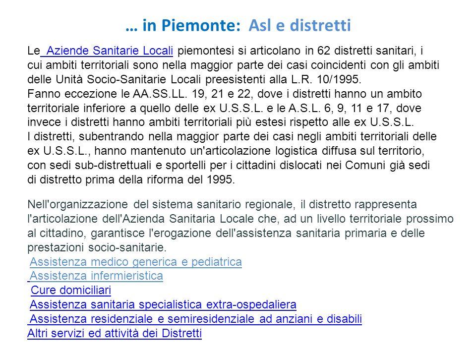 … in Piemonte: Asl e distretti