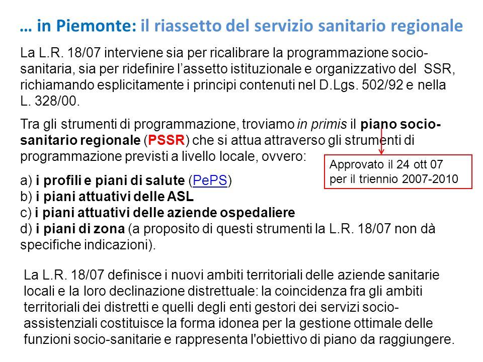… in Piemonte: il riassetto del servizio sanitario regionale