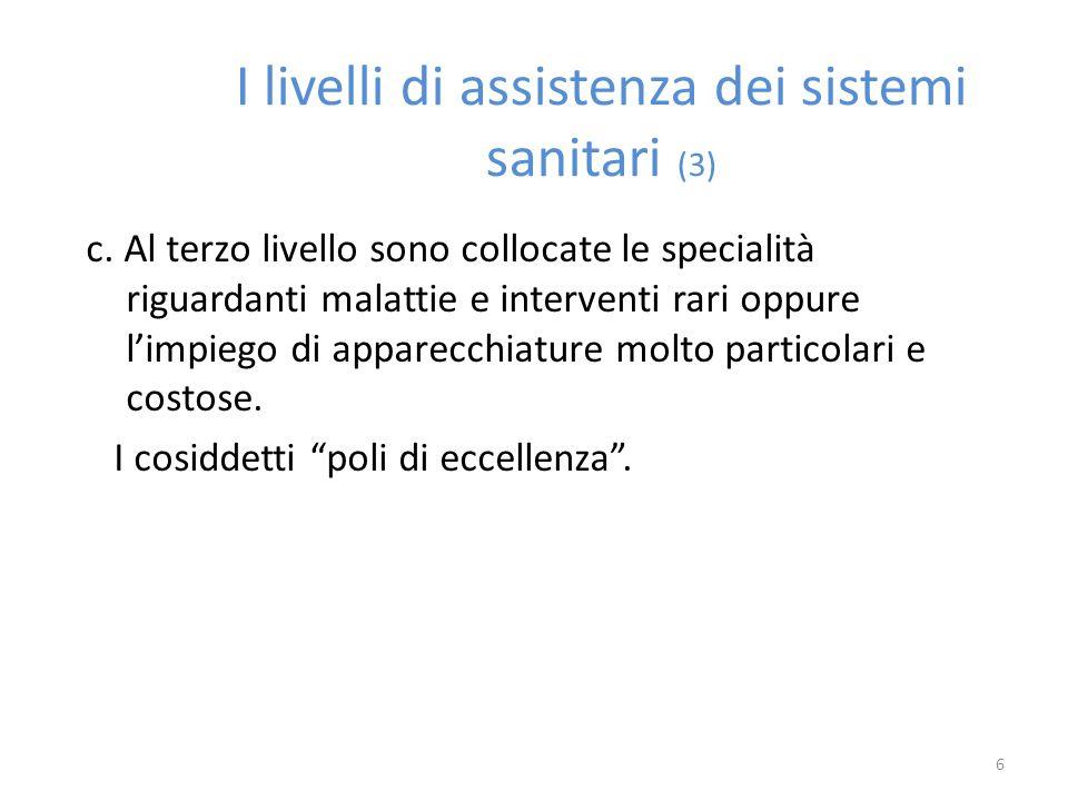 I livelli di assistenza dei sistemi sanitari (3)