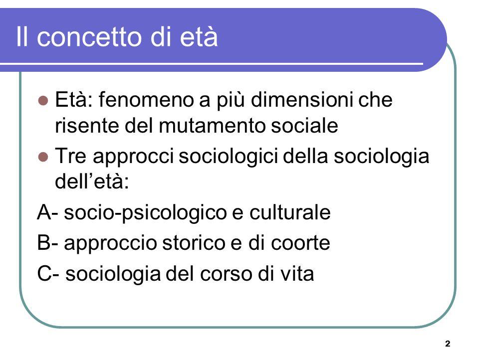 Il concetto di età Età: fenomeno a più dimensioni che risente del mutamento sociale. Tre approcci sociologici della sociologia dell'età: